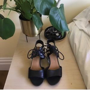 Franco Sarto Black Leather Lace-Up Sandals